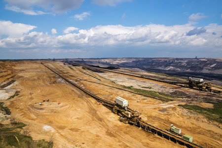 lignite: the big hole, lignite (brown coal) strip mining Garzweiler, Germany, a large surface mine for power generation with significant impact on the environment Stock Photo