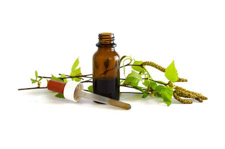 Birke Tinktur in einer kleinen Flasche und Zweige mit frischen Blättern auf einem weißen Hintergrund, Heilkraut für uropathy, Niere und Haarpflege- isoliert Lizenzfreie Bilder