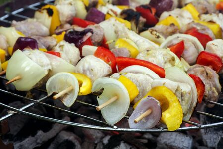raw shashlik skewers with onions, peppers and meat on the barbecue grill, selected focus and very narrow depth of field Stock Photo