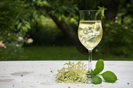 soft drink with ice cubes from elderflower syrup, juice, champagne, soda and mint in a glass on a white wooden table in the garden, selected focus, narrow depth of field Archivio Fotografico