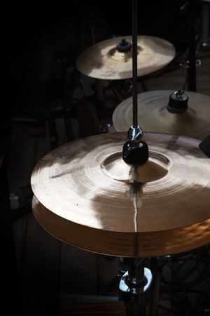 cymbals hi hat and cymbals on stage musical instruments in a percussion drum