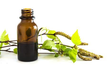 elixir: extracto de abedul en una pequeña botella y ramas con hojas frescas aisladas sobre un fondo blanco, hierba medicinal para la salud y la belleza, enfoque seleccionado, reducir la profundidad de campo