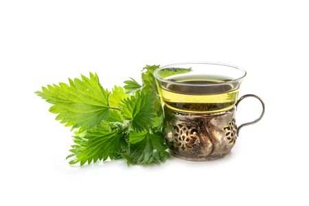 vintage teacup of glass and silver with nettle tea and some fresh leaves isolated with shadows on a white background, medicinal plant from natures pharmacy, selected focus, narrow depth of field