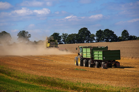 john deere: SCHWANSEE, GERMANY, AUGUST 16, 2016: John Deere tractor with two trailers follows the combine harvester at work on the field in a rural landscape against the blue sky in northern Germany, copy space