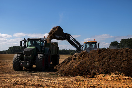 fertilize: fertilize the field, excavator with shovel fills organic fertilizer or manure in the trailer of a tractor, blue sky, copy space Stock Photo