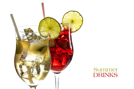 limonene: Red and yellow cocktail, fresh mixed drinks from juice of limonene, grapefruit, cherries, berries and ice, with or without alcohol, isolated on a white background, sample text Summer Drinks, selective fokus, narrow depth of field