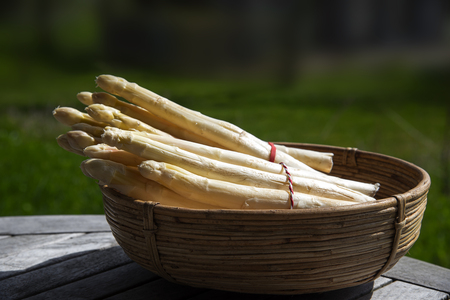 White asparagus spears, fresh crop in a basket on a wooden table outdoors in the farm, copy space, selective focus, narrow depth of field