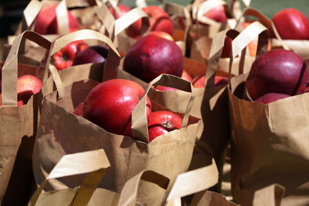 Fresh red apples in paper bags on the local outside farmers market on a sunny day, selected focus, narrow depth of field Stock Photo
