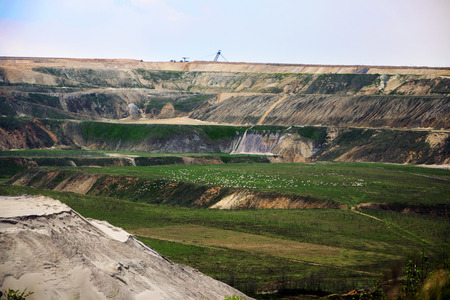rwe: Destroyed landscape in Garzweiler opencast mining lignite, surface mine in North Rhine-Westphalia, Germany, controversial energy production against environmental protection Stock Photo