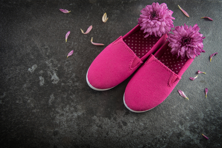 pink kid shoes and flowers on a dark slate background, concept International Day of the Girl Child on 11 October, copy space, selected focus Stock Photo