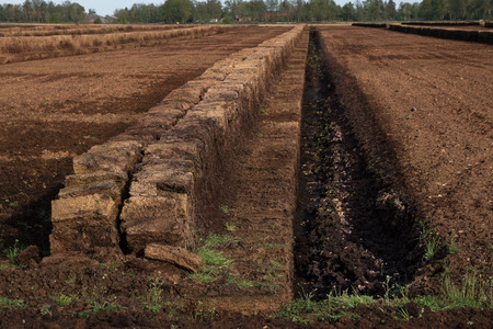 industrial peat extraction with a ditch and piled turf blocks, nature destruction of a raised bog landscape in the Venner Moor, Lower Saxony, Germany, selected focus Reklamní fotografie