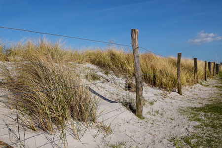 fence with weathered wooden stakes in front of the sand dunes on the beach of the Baltic Sea, blue sky, copy space, selected focus, narrow depth of field