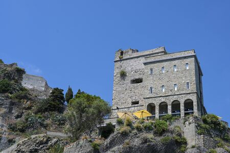 Restaurant in the former fortress of Monterosso, one of the famous cinque terra mountain villages with colorful houses