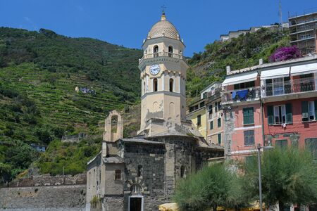Church of Vernazza, one of  the famous Cinque Terre mountain villages in Liguria, Italy Stock Photo