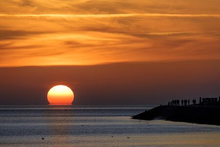 Sunset in the north sea in germany
