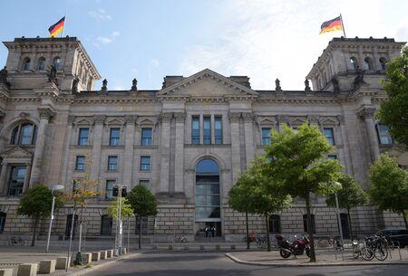 Reichstag building, (german government) with flags in Berlin the capital city of Germany, Europe Stockfoto