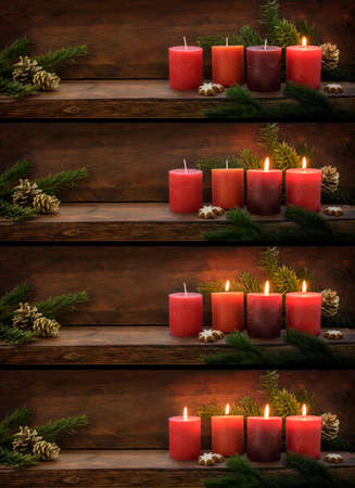 Collection of four panoramic images of red advent candles being lit one after the other, fir branches and Christmas decoration on a dark wooden background with copy space, selected focus Stock fotó