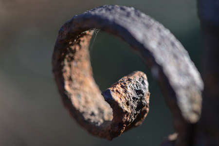 Curlicue decoration on a rusty iron fence, close up shot, copy space, selected focus, very narrow depth of field
