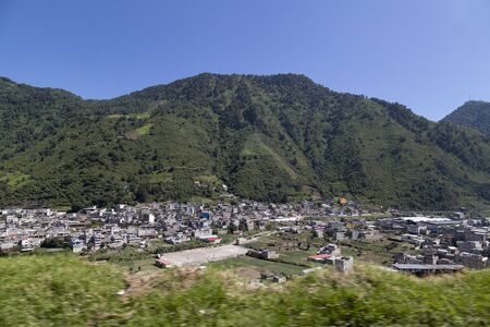 Panoramic of a small town in Guatemala with a clear sky