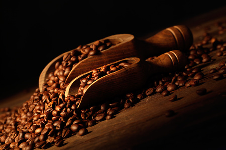 wooden palette with coffee beans