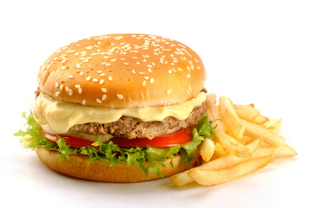 sandwich with mayonnaise, burger, tomato, lettuce and chips