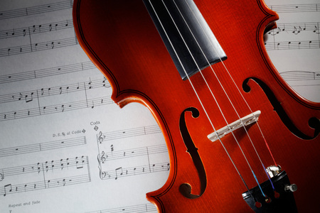 violin with musical score