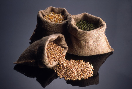 Jute bags with various seeds