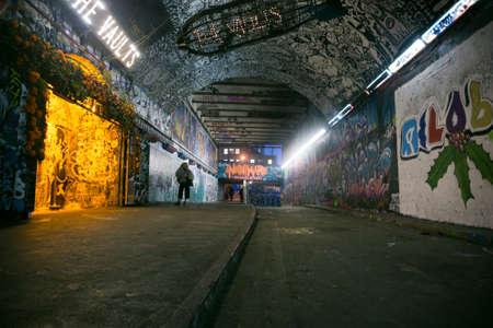 Graffiti tunnel at London Editorial
