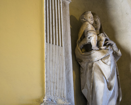 madonna: White marble statues of the Madonna and Child