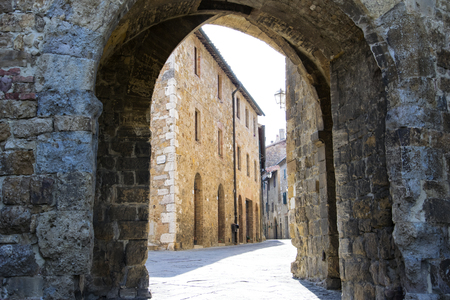 san quirico: Old small stone medieval street in the historical center of Serra San Quirico DOrcia, Tuscany, (Italy)