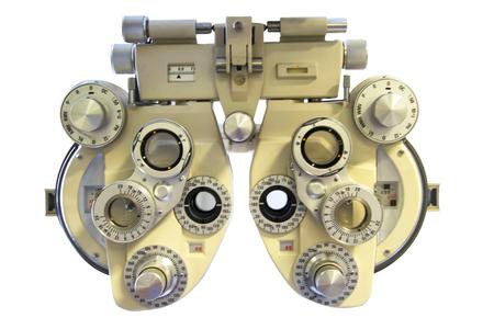 Professionele optometrist dioptrie op een witte achtergrond tool. Stockfoto