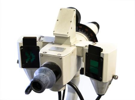 Apparaten voor meting van visie die op witte achtergrond wordt geïsoleerd.