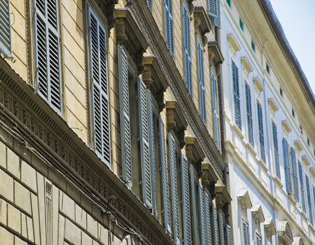 Typical Italian facades in Florence, Tuscany, Italy.