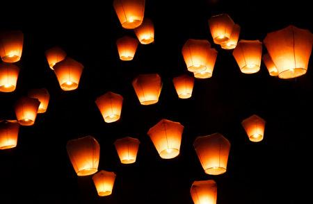 Pingxi, Taiwan - April 2016 - Sky Lantern Festival in Taipei.