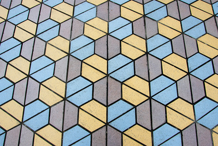 road surface: Stone exterior floor, light blue, gray and yellow colored texture.