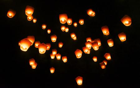 sky lantern: Pingxi, Taiwan - April 2016- Sky Lantern Festival in Taipei. Stock Photo