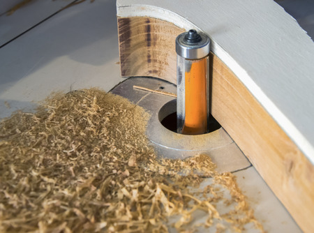 cutter: Cutting wood with a CNC milling machine Stock Photo