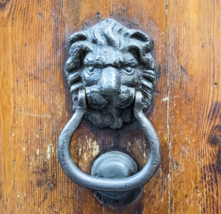 Lion head knocker on an old wooden door in Florence, Tuscany, Italy