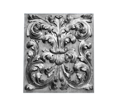 Beautiful traditional Italian interior ornament made of gold and wood, black and white. Stock Photo