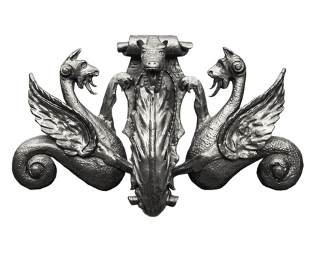 door knob: Ancient door knocker isolated on white background, antique effect (sepia). Wonderful dragon decoration.
