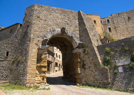 Gate to the Arch, one of the citys gateways, is the most famous Etruscan architectural monument in Volterra, Italy