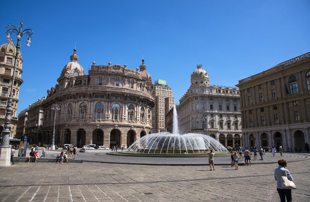View of the east side of the main square Piazza de Ferrari is renowned for its fountain