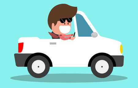 racing: Riding on the convertible car machine. Happy young man rides in the car. Vector illustration in cartoon style. Vacations.