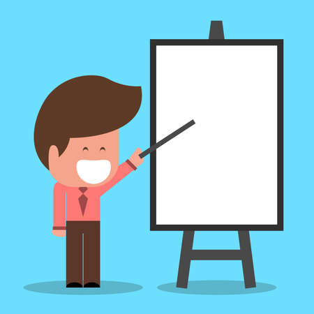 Businessman with flip chart. Separate Vector Objects caucasian ethnicity Vetores