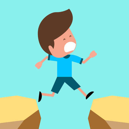 gambol: Boy jumping over gap Illustration