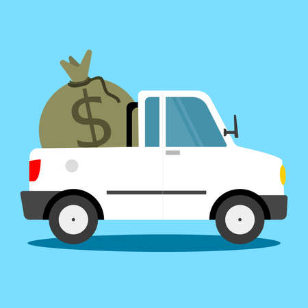 Pickup suv truck vector illustration in flat style. Take The Money And Run