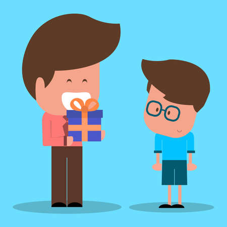 They are giving present to his father or father giving present to his son. Exchange Gifts. Vector illustration of a flat design