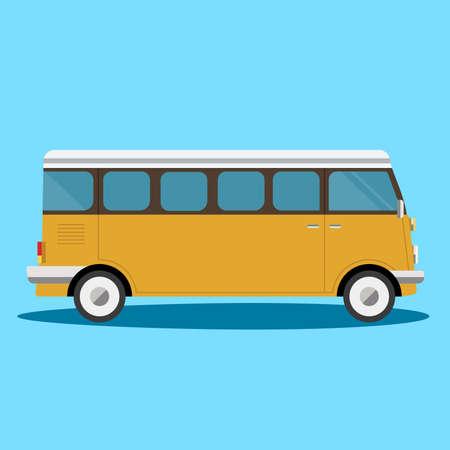retro travel van in cartoon style isolated on white