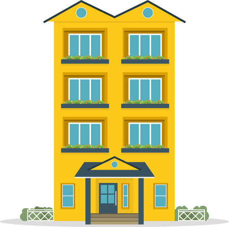 Traditional house. Family home. Flat design vector concept illustration. 向量圖像