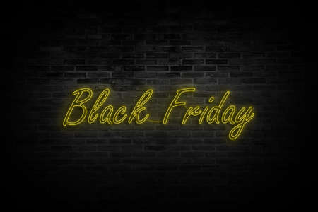 Black Friday neon advertising, discounts, sales, neon bright banner sign. Glowing sign for your projects Foto de archivo - 120924002